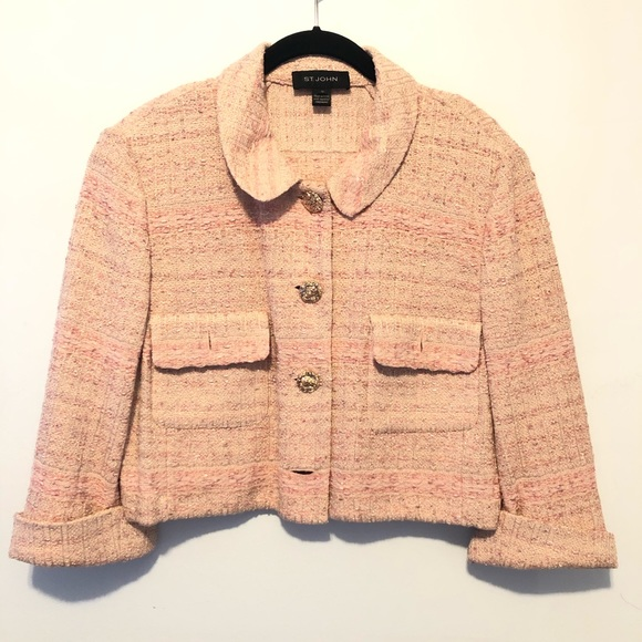 St. John Collection Tweed Blazer Pink Cream Sz 14